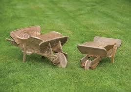 small wooden wheelbarrow planter h30cm x l60cm