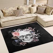 alaza day of the dead sugar skull area rug rug carpet for living room bedroom 5 3 x 4