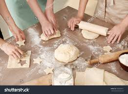 Women Preparing Puff Pastry Table Kitchen Stock Photo Edit Now