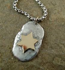star of david necklace mens pendant recycled sterling silver gold dog tag necklace for men magen david solid 14k gold mixed metal
