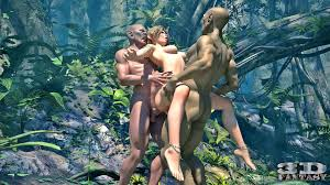 Amazing hot Male Male Female of two ugly orcs fucking a busty elf.
