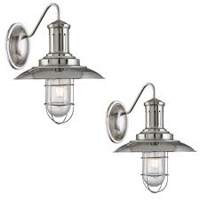 caged lighting. pair searchlight 6503ss fisherman satin silver industrial finish wall light with caged u0026 seeded glass shade caged lighting