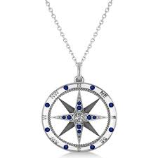 compass pendant blue sapphire diamond accented 14k white gold