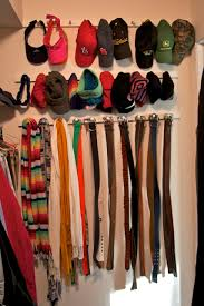 how to organize belts and hats in closet