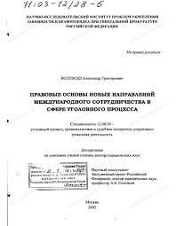 Диссертация на тему Правовые основы новых направлений  Диссертация и автореферат на тему Правовые основы новых направлений международного сотрудничества в сфере уголовного процесса