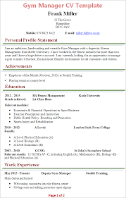 Gym Manager Cv Example Professional User Manual Ebooks