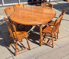 sold maple colonial dining room set table 2 leaves 6 chairs 100