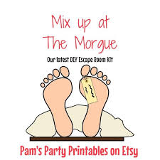 mix up at the morgue a diy escape room kit game new years game gno birthday family friendly ages 14 up escape room