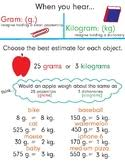 Kg Gram Chart Grams Kilograms Anchor Chart Worksheets Teaching Resources