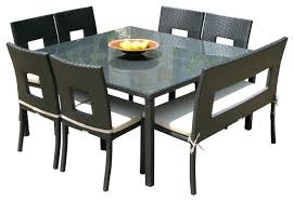 8 person dining table. Square Dining Table Set Outdoor Wicker Resin 8 Piece Chairs And Bench . Person E