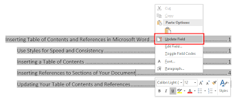 Microsoft Word Update All Fields Inserting A Table Of Contents And References In Microsoft Word