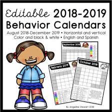Fully Editable 2018 2019 Clip Chart Behavior Calendars In English And Spanish