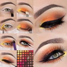 yellow and orange eye shadow