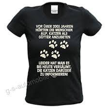 Katzen Als Götter Lustiges Sprüche Damen T Shirt Mit Tiermotiv Für