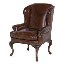brown leather classic wingback armchair in chairs