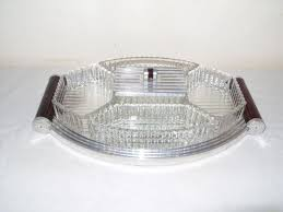 art deco serving tray with 5 glass bowls