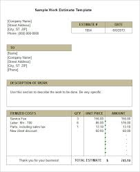 example work estimate template for job