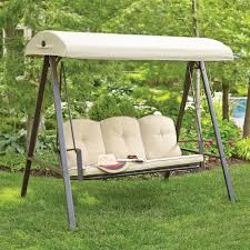 outdoor furniture swing chair. Cunningham 3-Person Metal Outdoor Swing With Canopy Furniture Chair