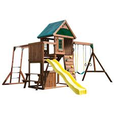 swing n slide playsets chesapeake deluxe wood complete playset with chalkboard