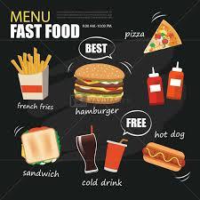 Design Fast Food Menu Fast Food Menu On Chalkboard Background Flat Design Stock