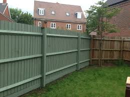 Cuprinol garden shade willow Garden fence painted in willow willow,  puddy/grey or egg