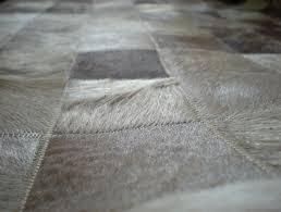 cowhide patchwork rug gray