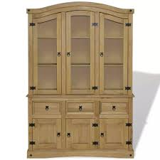 details about corona mexican pine buffet hutch glass door display unit wooden sideboard new