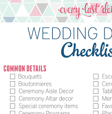 Wedding Detail Checklist Wedding Detail Checklist Every Last Detail