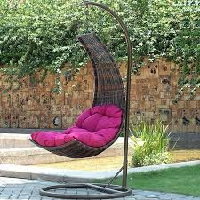 outdoor hanging furniture. Perfect Idea Of Wicker Outdoor Hanging Chair In Curve Shape With Tuffted Seat Furniture K