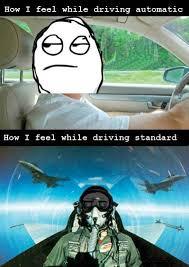 Automatic Vs. Standard | Car Humor via Relatably.com