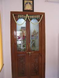 wood door with glass for pooja room