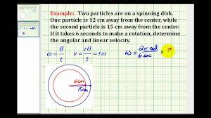 example determine angular and linear velocity