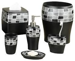black bathroom accessories.  Black 6Piece Mosaic Stone And Resin Bath Accessory Set Black With Bathroom Accessories
