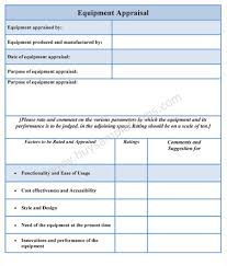 Monthly Appraisal Form Equipment Appraisal Form 6
