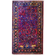 early 20th century tree of life kashan prayer rug