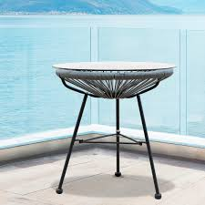 sarcelles modern woven wicker patio side table with glass top by