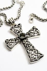 a2126ps antique cross pendant with black diamond crystal