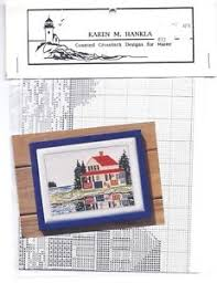 Chart House Maine Details About Vintage Lake House Cabin On Shore Cross Stitch Chart Pattern Karen Hankla Maine