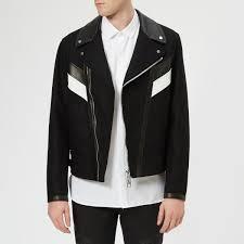 neil barrett men s wool leather modernist jacket black white free uk delivery over 50