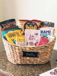 large wooden basket full of snacks