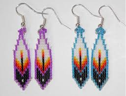 navajo bead designs. BEADED EARRING 27 FEATHER - Native American Feather Design Earrings Navajo Bead Designs E