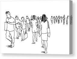 People Walking Marker Illustration Canvas Print