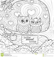 Small Picture Cute Owls Art Therapy Coloring Page Stock Vector Image 60508121