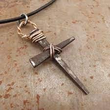 mens cross necklace rusty nails pendant