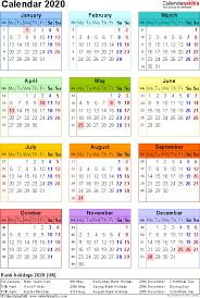 2020 Year At A Glance Calendar Template Calendar 2020 Uk 16 Free Printable Word Templates