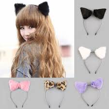 Cat Hair Style fluffy cosplay halloween party cat faux fox fur ears costume 1369 by stevesalt.us