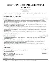Assembly Line Worker Resume Resume Template Ideas