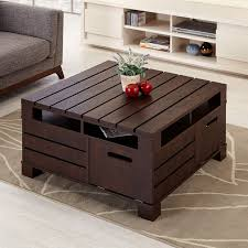 ... Coffee Table, Enchanting Dark Brown Square Minimalist Wood Pallet  Coffee Table With Storage Designs To ...