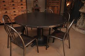 industrial french vintage steel dining table with rivets