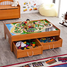 nice looking wooden honey train table design for kids with storage and oak wooden floor